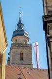 Aguja vieja de la iglesia de la ciudad de Bayreuth Foto de archivo libre de regalías