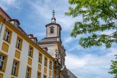 Aguja vieja de la iglesia de la ciudad de Bayreuth Fotografía de archivo libre de regalías