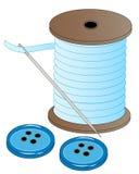 Aguja y botones de la cuerda de rosca Fotos de archivo