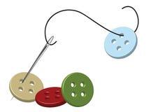 Aguja y botones roscados Fotografía de archivo