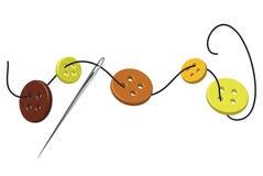 Aguja y botones roscados Foto de archivo libre de regalías