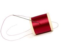 Aguja y carrete de la cuerda de rosca Fotografía de archivo libre de regalías