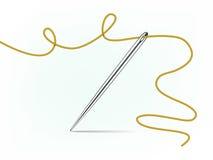 Aguja y cuerda de rosca de acero de costura Imagen de archivo libre de regalías