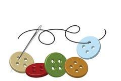 Aguja y cuerda de rosca de costura con los botones Fotos de archivo