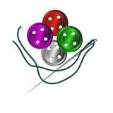 Agujas, botones, costurera Foto de archivo libre de regalías