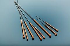 Agujas de la acupuntura Fotografía de archivo libre de regalías