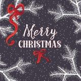Agujas del pino blanco con los arcos de la Navidad Ejemplo del vector en fondo que nieva Foto de archivo libre de regalías