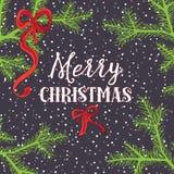 Agujas del pino con los arcos de la Navidad Ejemplo del vector en fondo azul marino Imágenes de archivo libres de regalías