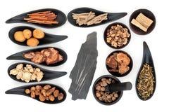 Agujas e hierbas de la acupuntura Imagen de archivo libre de regalías