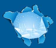 Agujero al paisaje nevoso del invierno Imagen de archivo libre de regalías