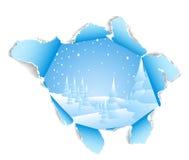 Agujero al paisaje nevoso del invierno Imagen de archivo