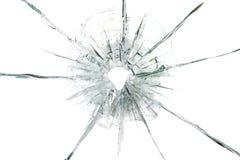 Agujero de bala grande en el fondo de cristal foto de archivo libre de regalías