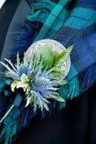 Agujero de botón escocés de la boda Fotografía de archivo