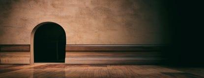 Agujero de la casa del ratón en la pared enyesada, el piso de madera y bordear, bandera, espacio de la copia ilustración 3D
