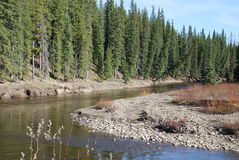 Agujero de la pesca en el río de Pembina Imagen de archivo