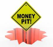 Agujero de Pit Spending Wasting Cash Sign del dinero Imagen de archivo