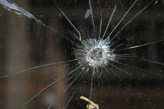 Agujero de punto negro en vidrio Imagen de archivo