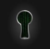 Agujero de seguridad con código binario Fotos de archivo