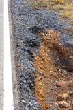 Agujero del borde de la carretera del suelo Foto de archivo libre de regalías