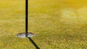 Agujero del putting green del campo de golf con la asta de bandera foto de archivo libre de regalías