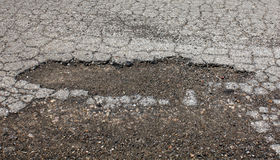 Agujero en asfalto Foto de archivo