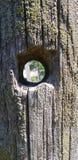 Agujero en el fencepost de madera Imágenes de archivo libres de regalías