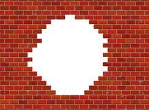 Agujero en modelo rojo de la pared de ladrillo de los alquileres pequeño Fotos de archivo
