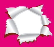 Agujero en papel. Imagen de archivo libre de regalías