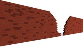 Agujero en una fractura roja de la pared de ladrillo Imagen de archivo libre de regalías