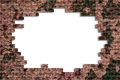 Agujero en una pared de ladrillo Imágenes de archivo libres de regalías