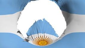 Agujero grande en la bandera de la Argentina stock de ilustración
