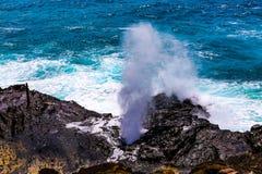 Agujero Hawaii del soplo de Halona fotografía de archivo