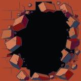 Agujero que se rompe a través de la pared de ladrillo roja Fotos de archivo libres de regalías