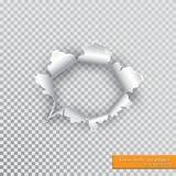 Agujero rasgado en papel con los bordes rasgados con la sombra en fondo transparente Concepto gráfico para su diseño ilustración del vector