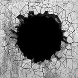 Agujero roto agrietado oscuro en muro de cemento Fondo del Grunge libre illustration