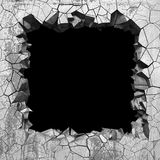Agujero roto agrietado oscuro en muro de cemento Fondo del Grunge stock de ilustración