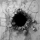 Agujero roto agrietado oscuro en muro de cemento Fondo del Grunge Fotos de archivo