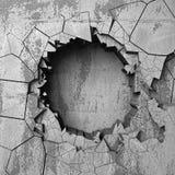 Agujero roto agrietado oscuro en muro de cemento Fondo del Grunge Fotografía de archivo libre de regalías