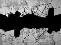Agujero roto agrietado oscuro en muro de cemento Fondo del Grunge Foto de archivo