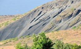 Agujero y cenizas de la erupción Imagen de archivo