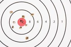 Agujeros de bala de la blanco del tiroteo Fotografía de archivo
