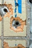 Agujeros de bala en el wal Fotografía de archivo libre de regalías