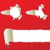 Agujeros en papel rojo Fotografía de archivo libre de regalías