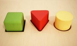 Agujeros interiores de los bloques de madera del cubo, de la prisma y del cilindro ilustración 3D ilustración del vector