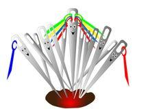 Agulha alegre com o threada em caixas da agulha Imagens de Stock