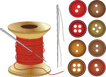 Agulha, bobina de linhas do vermelho e botões ilustração stock
