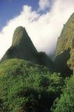 Agulha de Iao no parque estadual do vale de Iao, Maui, Havaí Fotos de Stock