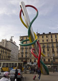 A agulha, a linha e o nó públicos da arte finala Imagens de Stock