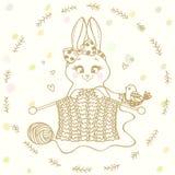 Agulhas de confecção de malhas do coelho ilustração stock