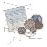 Agulhas, esferas das lãs e teste padrão de confecção de malhas ilustração stock